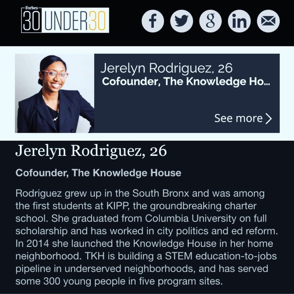 #30Under30 Forbes List in Education